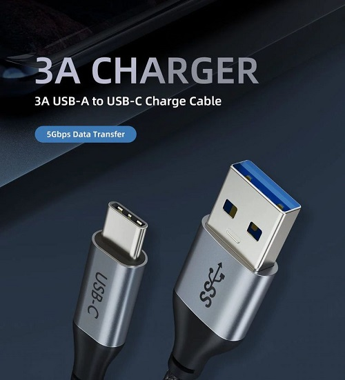 3ft Premium USB Type-C to USB3.0 AM Cable 5Gbps Charging & Sync