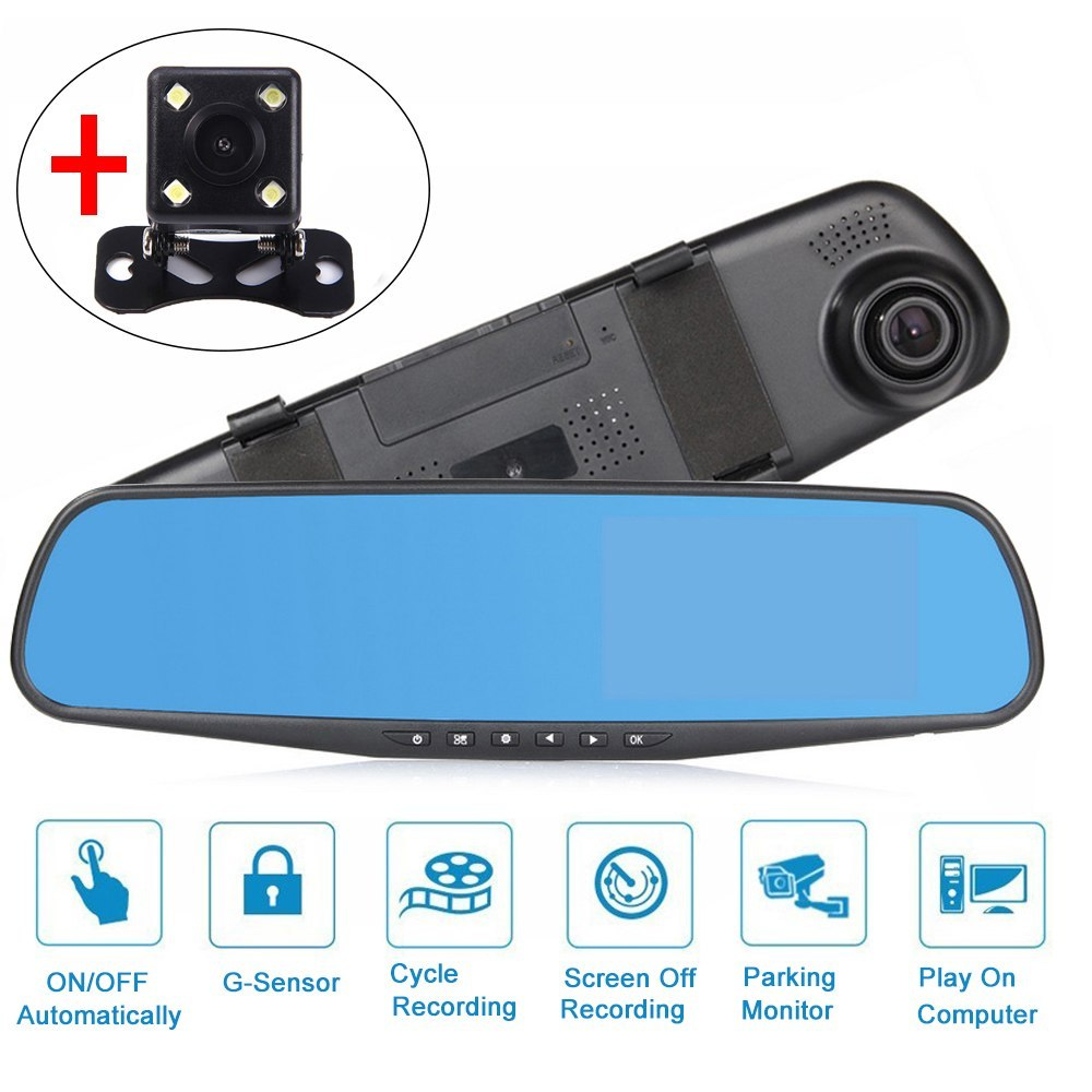 4.3 inch Dual Camera Rearview Mirror Monitor