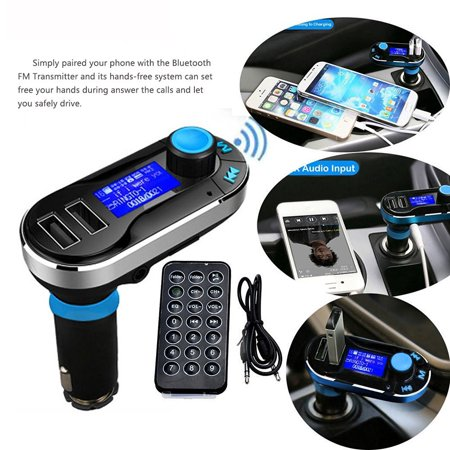 Bluetooth FM Transmitter Hands Free Supports SD Card Flash Drive