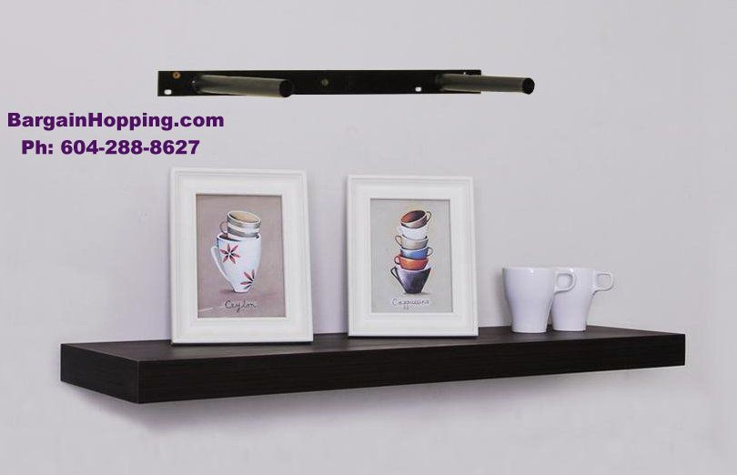 - Black Wood Wall Floating Shelf Rack