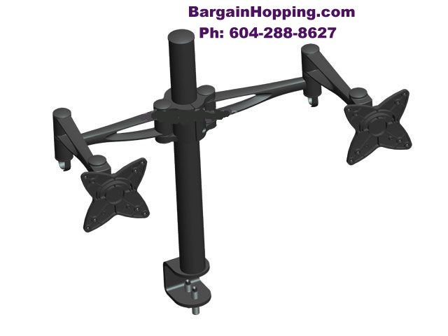 "10 - 23"" 3-Way Adjustable Tilting DUAL TV Monitor Desk Mount Bra"