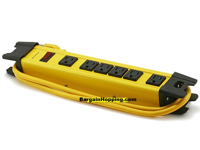 6 Outlet Power Surge Protector - Metal w/ 5ft Cord - Yellow