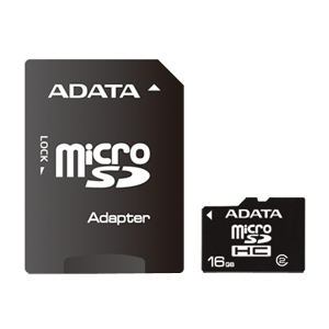 A-DATA 16GB Micro SD(SDHC) w/SD Adapter Class 2