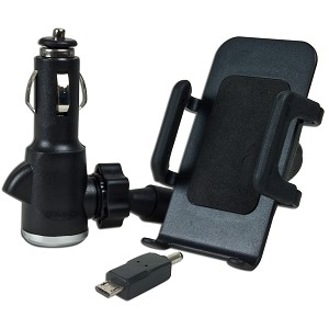 Universal In-Car Phone Mount & DC Power Adapter w/USB Micro-B Co
