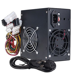 GenMax 480W 20+4-pin Dual-Fan ATX PSU w/SATA & PCIe (Black)