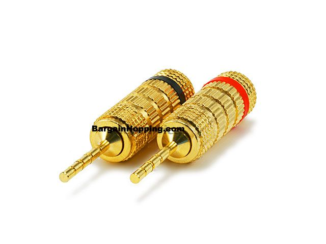 PAIR OF High-Quality Copper (non-banana) Speaker Plugs - Pin Scr