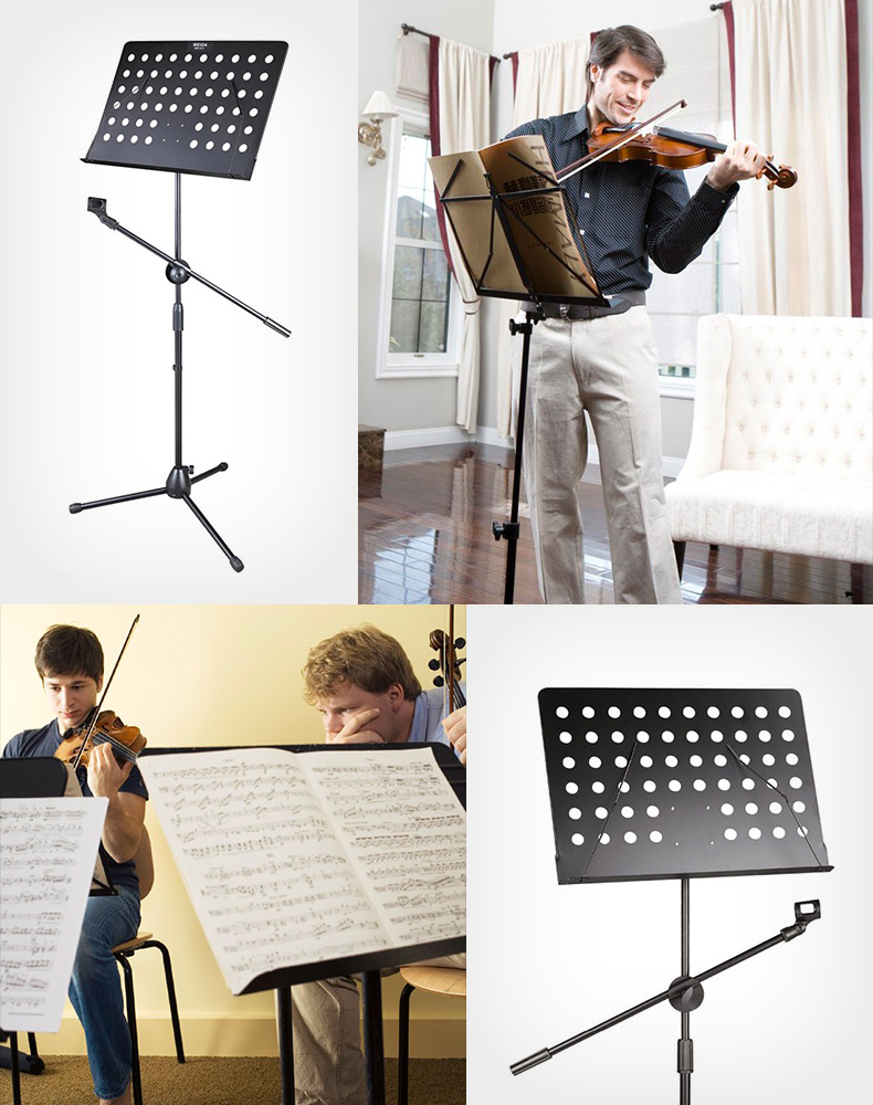 Adjustable Heavy Duty Tripod Music Note Stand w/ Mic Holder