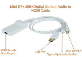 Mini Displayport Male and USB Male/Toslink Audio to HDMI Female
