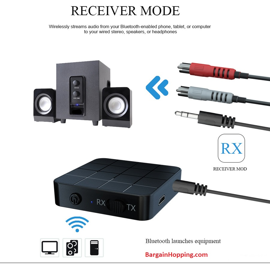 2 IN 1 Real Stereo Bluetooth 5.0 Receiver & Transmitter