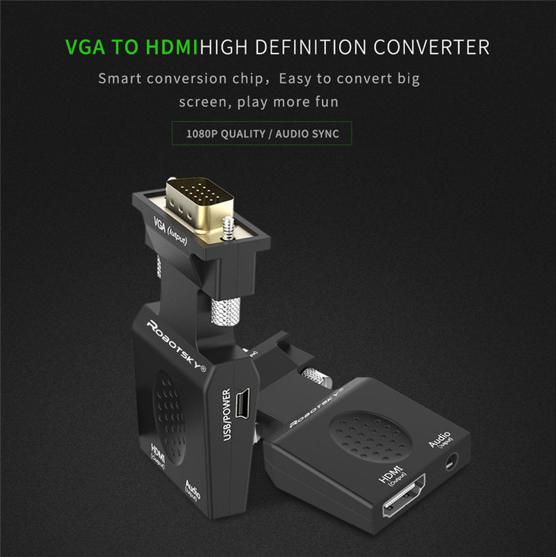 Robotsky VGA to HDMI Adapter Male to Female AV Video Converter